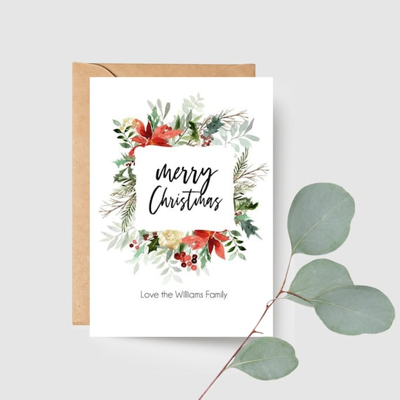 Red Floral Merry Christmas Card