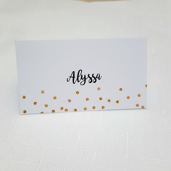 Wedding Place Cards | Name Cards x 190 | Gold Glitter Confetti Place Cards