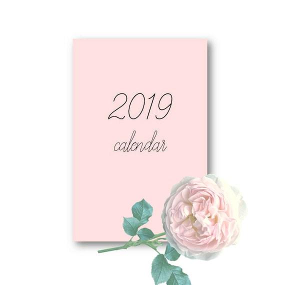 Blush Pink 2019 Calendar Cards