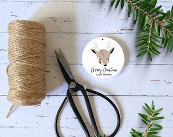 Cute Reindeer Merry Christmas Gift Tags (24) | Personalised Christmas Favour Tags