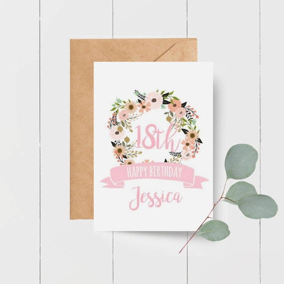Personalised Floral Happy Birthday Card