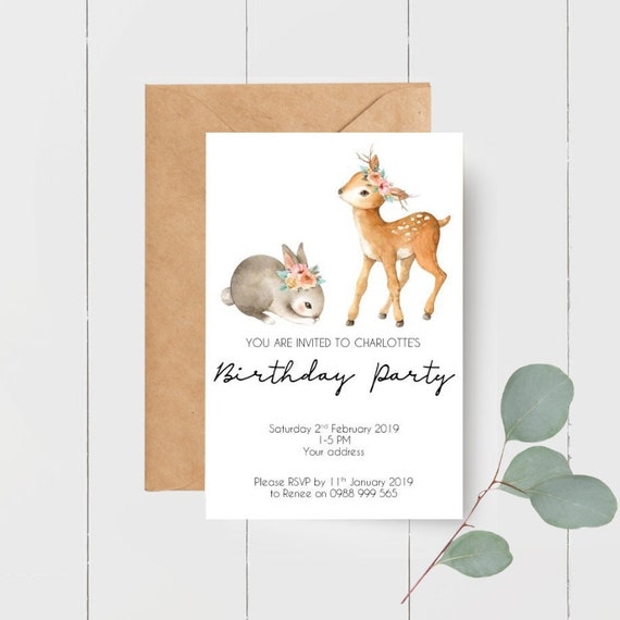 Printed Woodland Animal Birthday Party Invitations x 10
