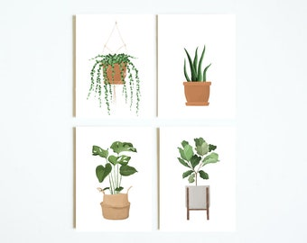 House Plant Note Card Set | Set of 4 Notecards