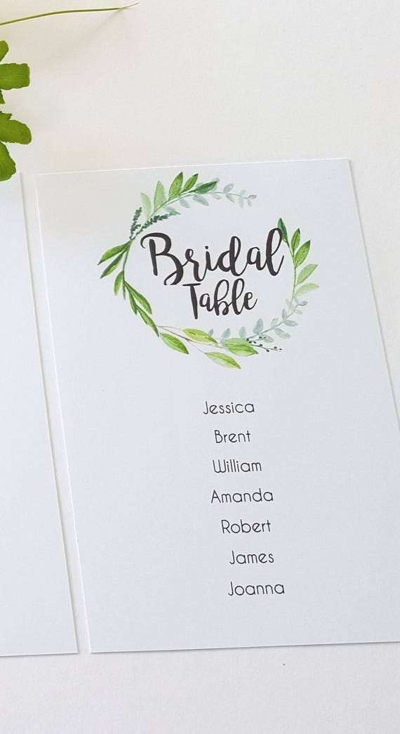 Watercolour Leaf Wreath Wedding Seating Chart Cards x 10