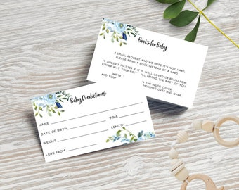 Blue Floral Books for Baby Cards + Baby Prediction Cards x 20