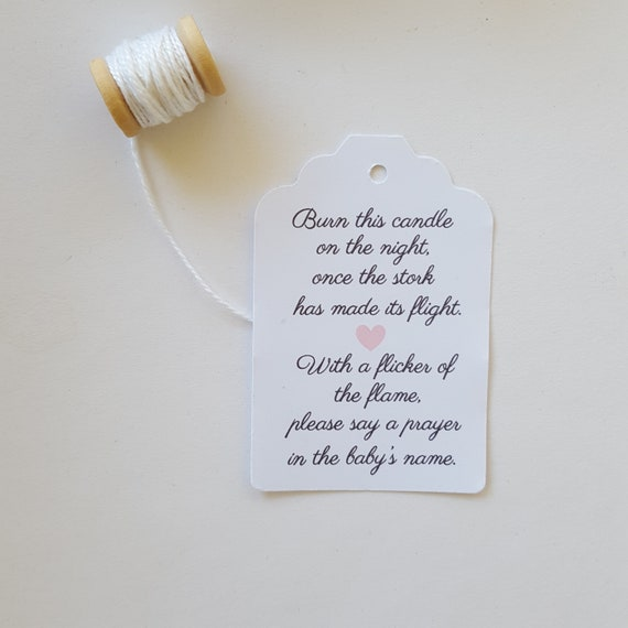 Burn this candle on the night Baby Shower Favour Tag (20)