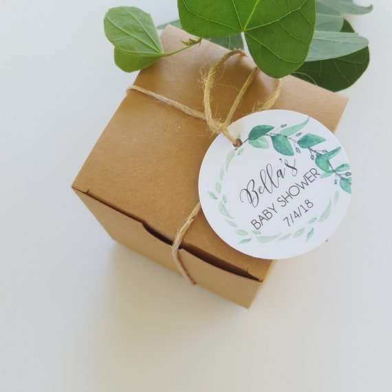 Leaf Wreath Baby Shower Favour Tags x 30