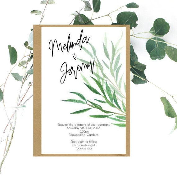 Greenery Leaves Wedding Invitation Sample
