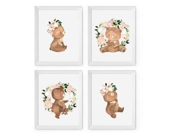Floral Baby Bear Set of 4 prints   A4 Baby nursery art prints