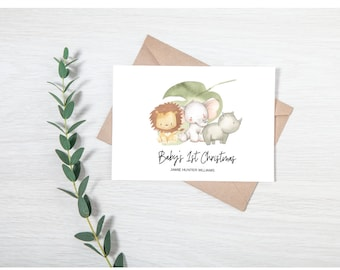 Personalised Baby's 1st Christmas Card + 6 Gift Tags