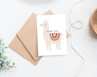 Set of 6 Boho Llama Baby Shower Thank you Cards
