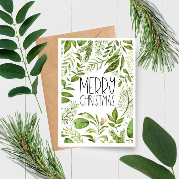 Woodland Leaves Merry Christmas Card