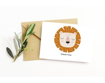 Set of 6 Baby Shower Thank you Cards | Boho Baby Lion Card Set