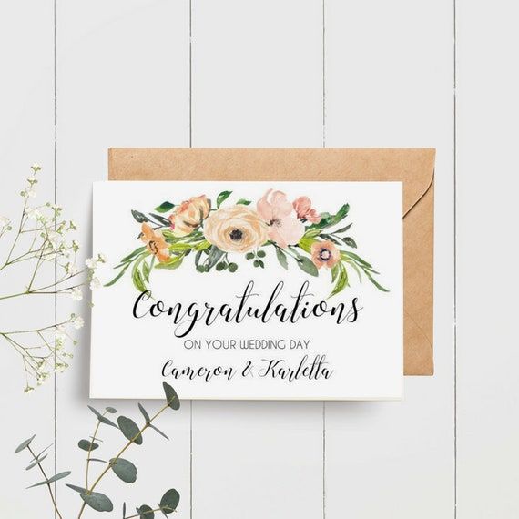 Custom Congratulations on your Wedding Day Card | Watercolour Flowers | Personalised Wedding Card