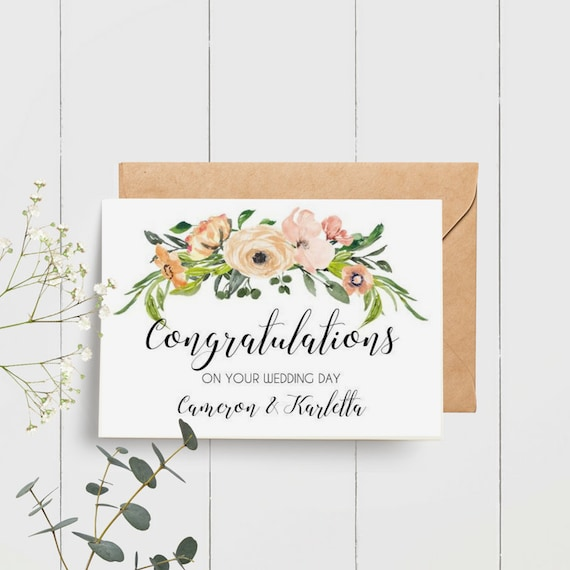 Custom Congratulations On Your Wedding Day Card Gift Tag Etsy