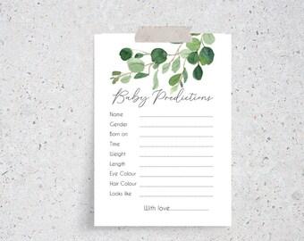 Eucalyptus Leaves Botanical Greenery Baby Prediction cards x 20