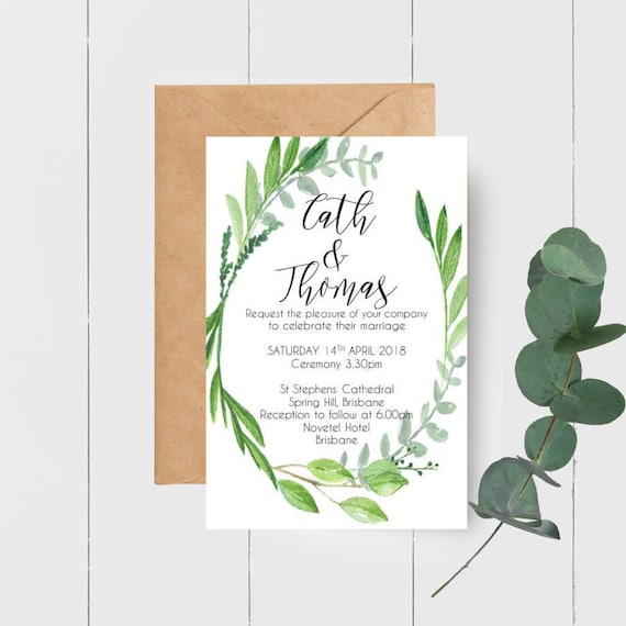 Botanical Watercolour Leaf Wreath Wedding Invitations x 50