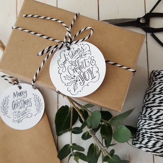 Merry Christmas Gift Tags (12) | Black and White Christmas | Merry & Bright