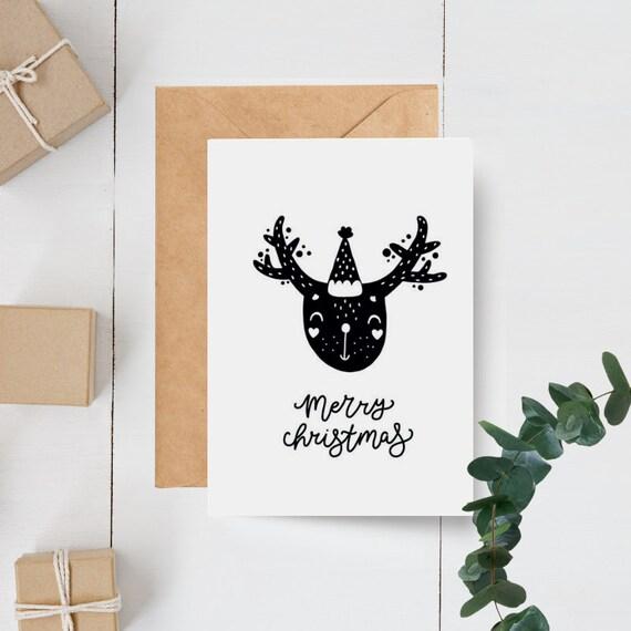 Monochrome Scandinavian Reindeer Merry Christmas Card