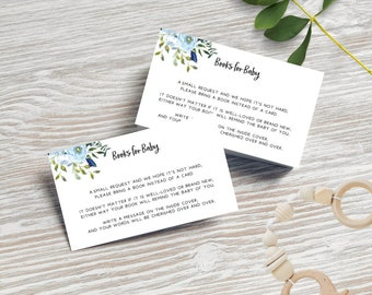 Blue Floral Books for Baby Cards x 20
