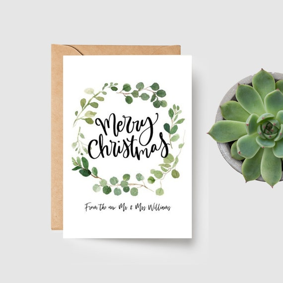 Eucalyptus Wreath Newly Married Couple Personalised Merry Christmas Card