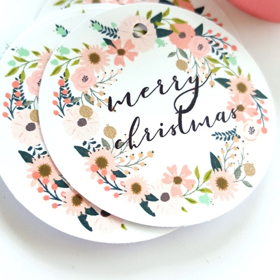 Large Floral Wreath Merry Christmas Gift Tags