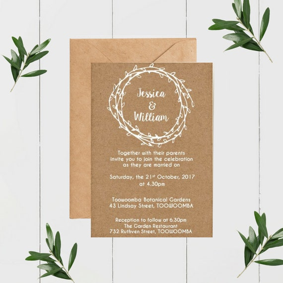 Printed Rustic Laurel Wreath Wedding Invitations