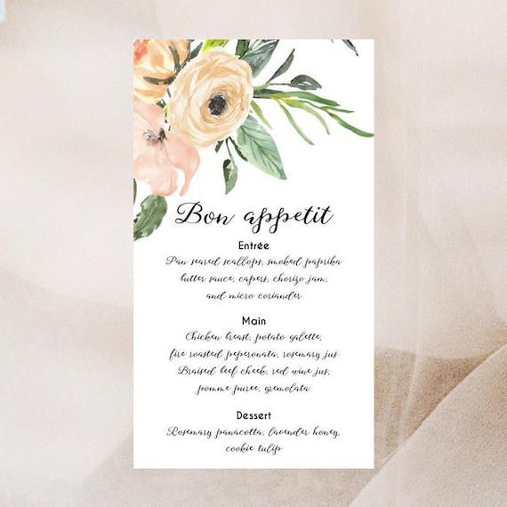 Watercolour Floral Menu Cards x 50