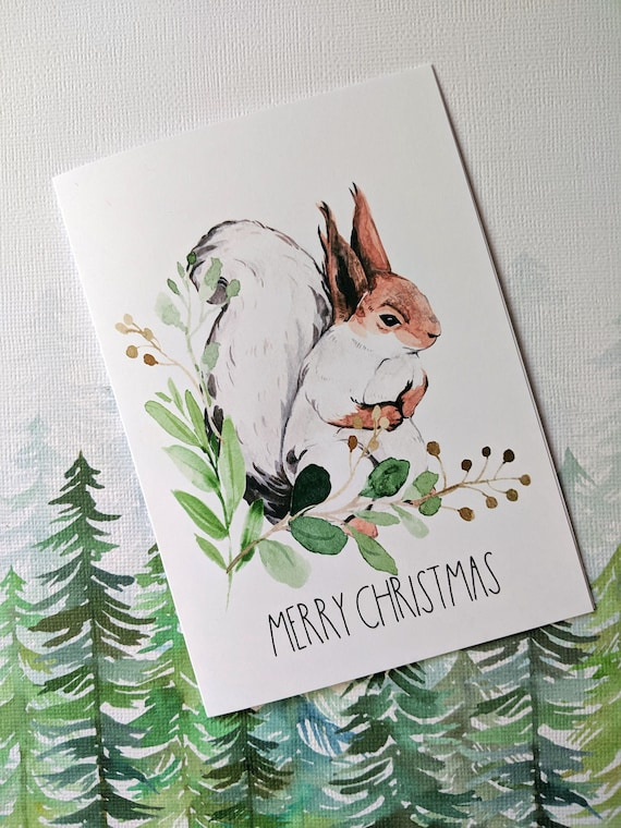 Woodland Squirrel Merry Christmas Card