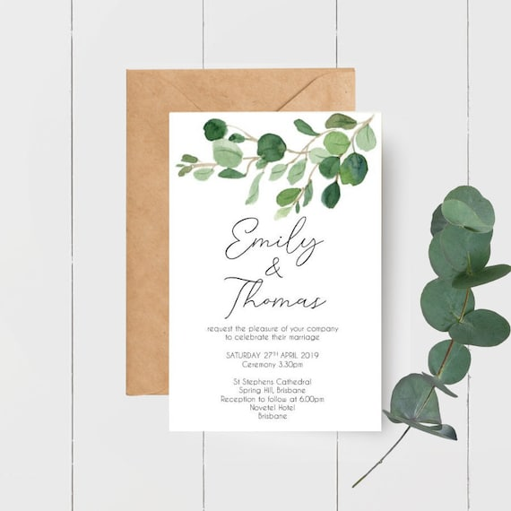 Eucalyptus Watercolour Leaves Wedding Invitations x 55 + RSVP cards x 55