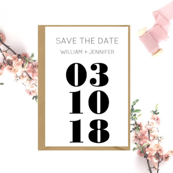 Save The Date Wedding cards x 20 | Large Date Modern Save the Date | Black and White Save the Date | Minimal Save the Date | Blush Pink