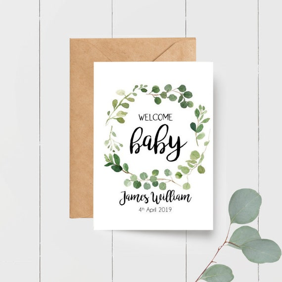 Personalised Welcome Baby Boy Card + Gift Tag