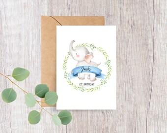 Cute Elephant Baby's 1st Birthday Card for Boy