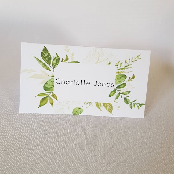 Greenery Border Place Cards x 20 | Wedding Place Cards | Green Leaves Table Name Cards
