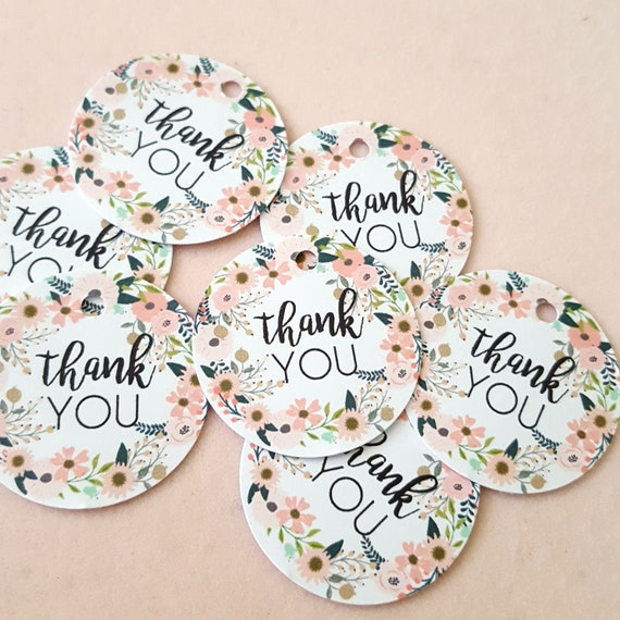 Floral Wreath Thank you Favour Tags (35) | Mini Baby Shower Thank you Tags