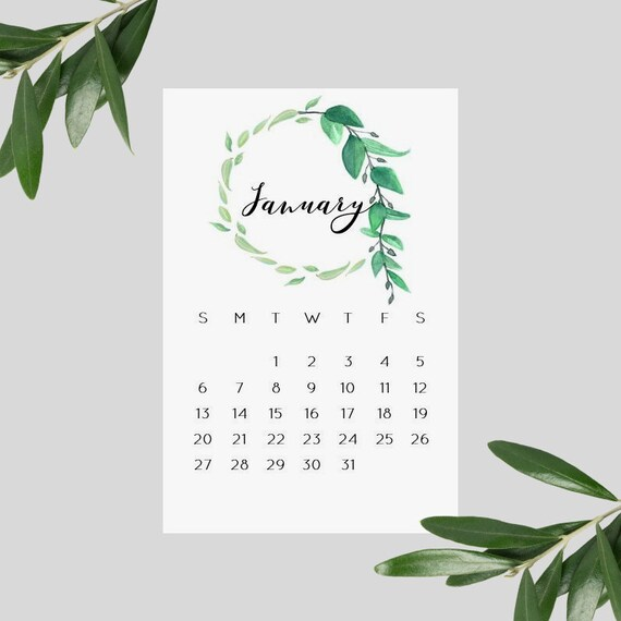 Botanical Greenery Wreath 2019 Desk Calendar Cards