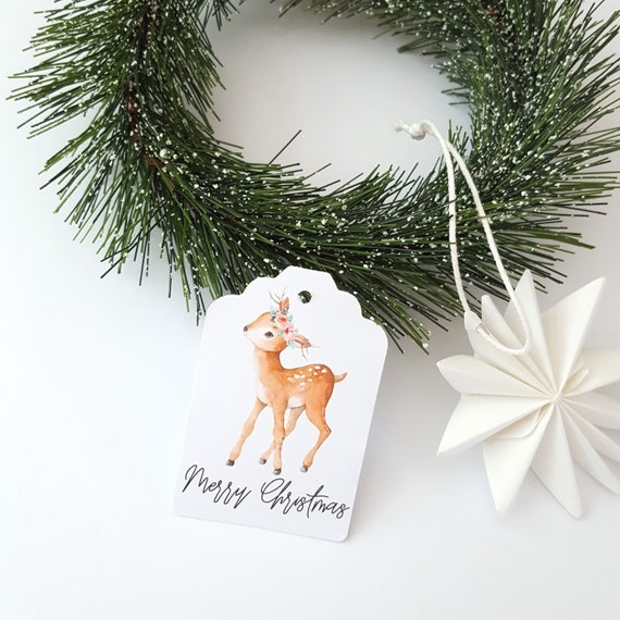 Floral Deer Merry Christmas Gift Tags (12)