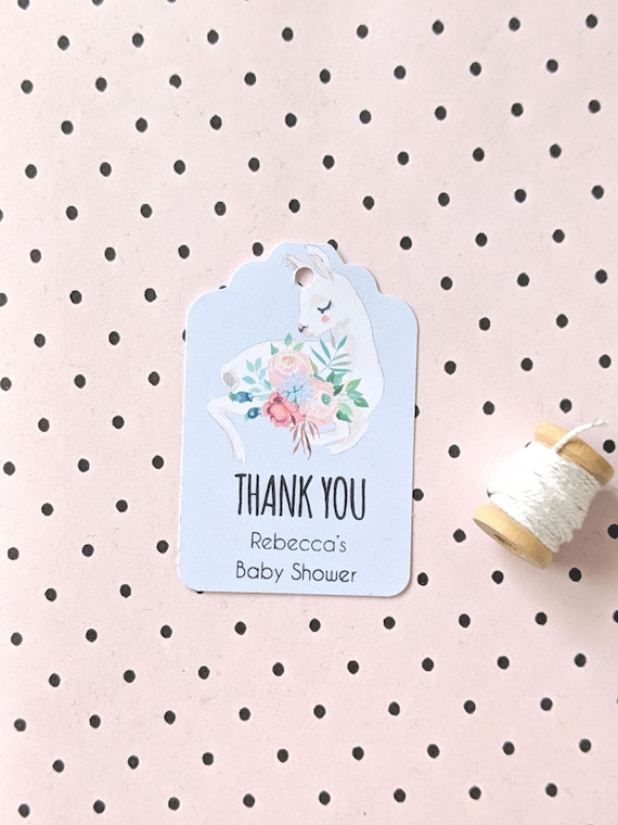 Personalised Floral Llama Thank you Baby Shower Favour Tags