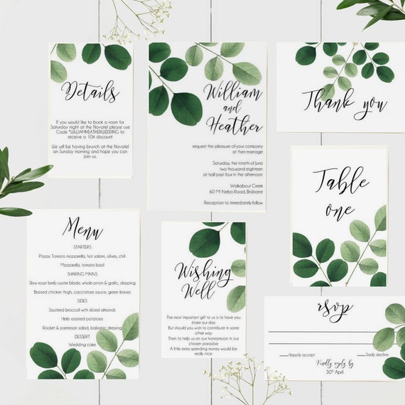 Botanical Greenery Wedding Invitation Suite