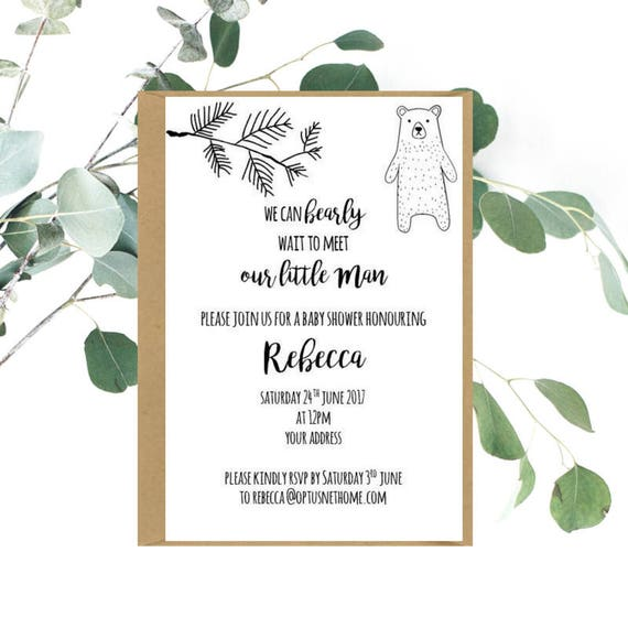 Rustic Hipster Bear Baby Shower Invitations x 20
