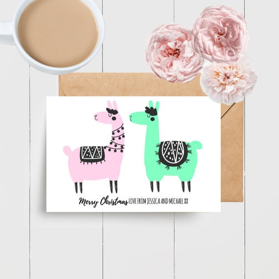 Personalised Llama Christmas Card