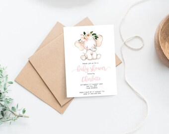 Floral Elephant Baby Shower Invitations x 10