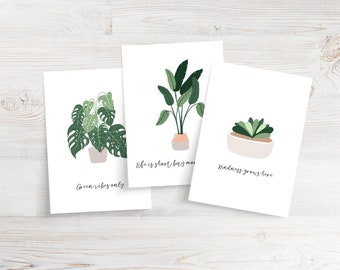 Set of 10 Plant Quote Cards