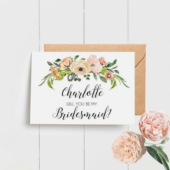 Watercolour Floral Will you be my Bridesmaid Card