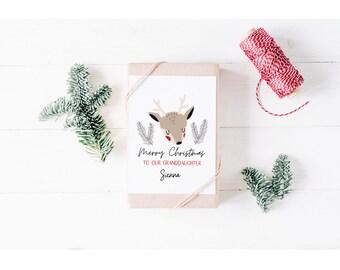 Personalised Merry Christmas Card for Granddaughter | Cute Reindeer Card