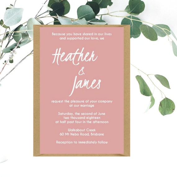 Dusty Pink Wedding Invitations | Printed Wedding Invites