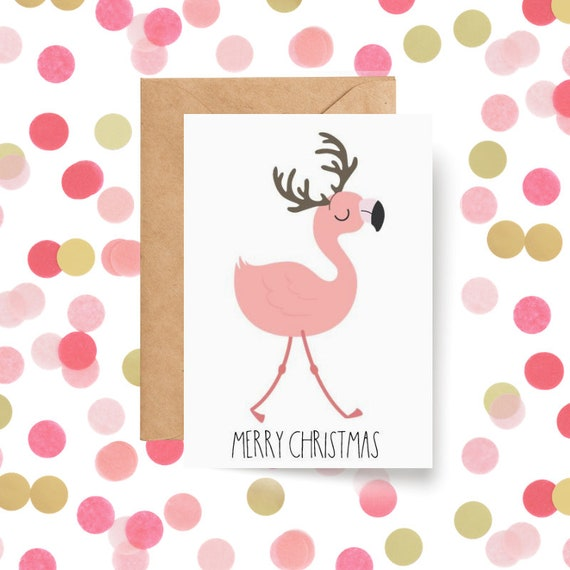 Cute Flamingo Reindeer Christmas Card