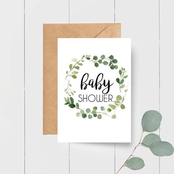 Eucalyptus Leaf Wreath Baby Shower Card
