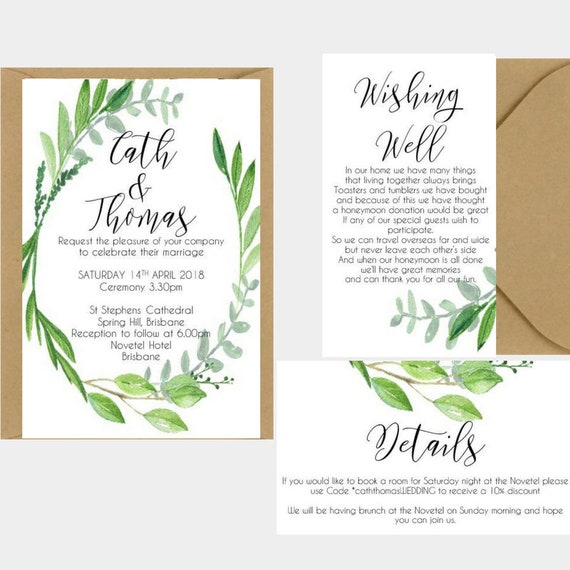 Wedding Invitation Greenery | Botanical Greenery Leaf Wreath Wedding Invitation | Greenery Wedding Invitation | Printed Wedding Stationery
