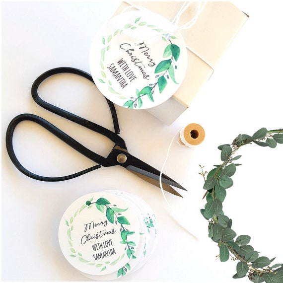 Personalised Botanical Merry Christmas Gift Tags (12)